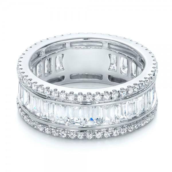 Baguette and Round Diamond Eternity Band - Laying View