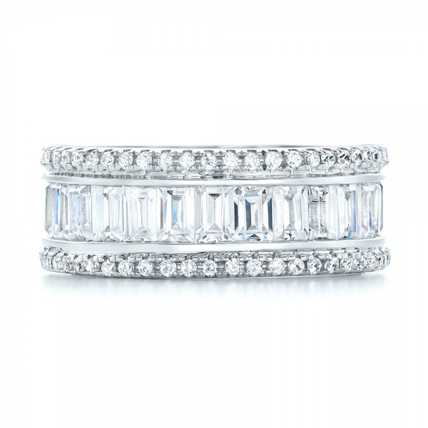 Baguette and Round Diamond Eternity Band - Top View