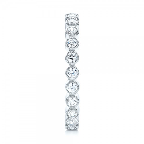 White Gold Stackable Diamond Eternity Band - Side View