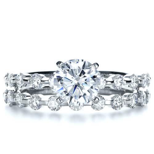 bezel set diamond womens wedding band top view
