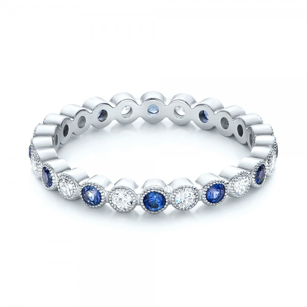 Diamond and Blue Sapphire Stackable Eternity Band - Flat View -  101894 - Thumbnail