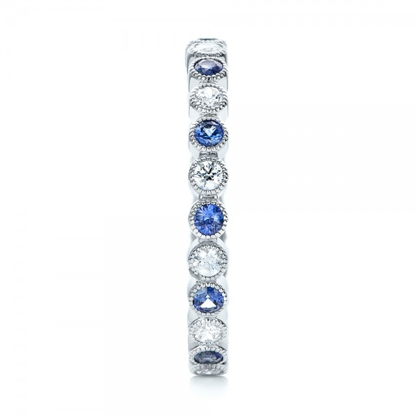 Diamond and Blue Sapphire Stackable Eternity Band - Side View -  101894 - Thumbnail