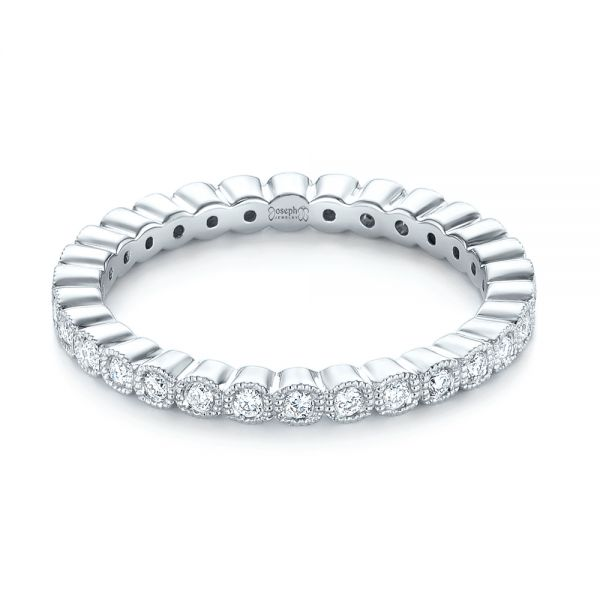 18k White Gold Bezel Set Diamond Eternity Wedding Band - Flat View -