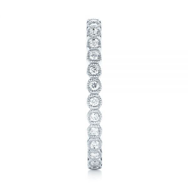 18k White Gold Bezel Set Diamond Eternity Wedding Band - Side View -