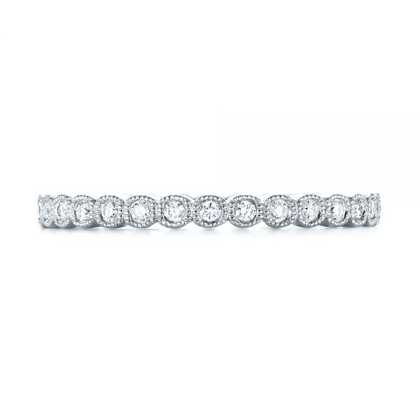18k White Gold Bezel Set Diamond Eternity Wedding Band - Top View -