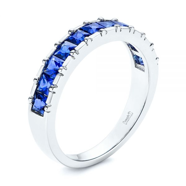 Blue Sapphire Channel Set Wedding Band - Image