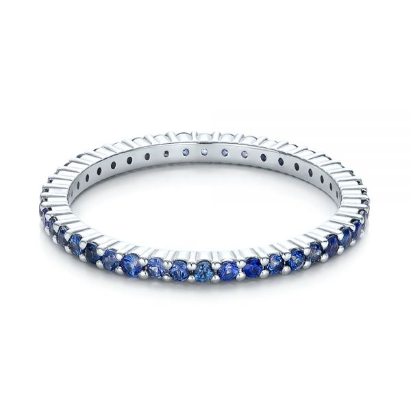 18k White Gold Blue Sapphire Stackable Eternity Band - Flat View -