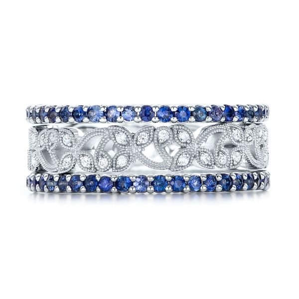 18k White Gold Blue Sapphire Stackable Eternity Band - Front View -