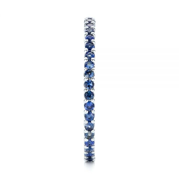 18k White Gold Blue Sapphire Stackable Eternity Band - Side View -
