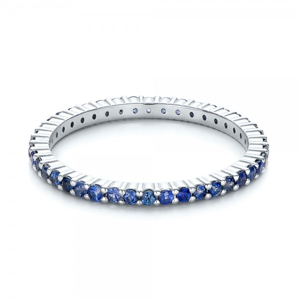 Blue Sapphire Stackable Eternity Band - Flat View -  101928 - Thumbnail