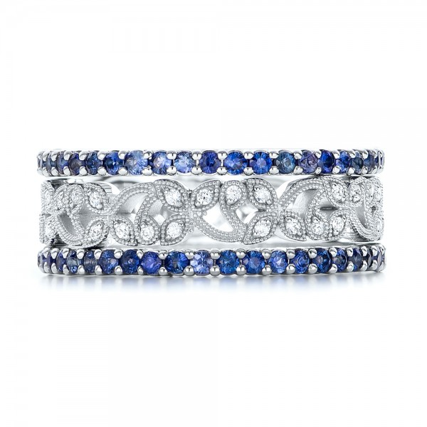 Blue Sapphire Stackable Eternity Band - Top View -  101928 - Thumbnail