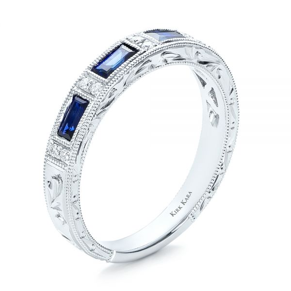 Blue Sapphire Wedding Band with Matching Engagement Ring - Kirk Kara