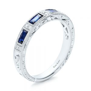 Blue Sapphire Wedding Band with Matching Engagement Ring - Kirk Kara - Image