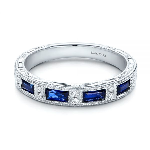 Blue Sapphire Wedding Band With Matching Engagement Ring - Kirk Kara - Flat View -