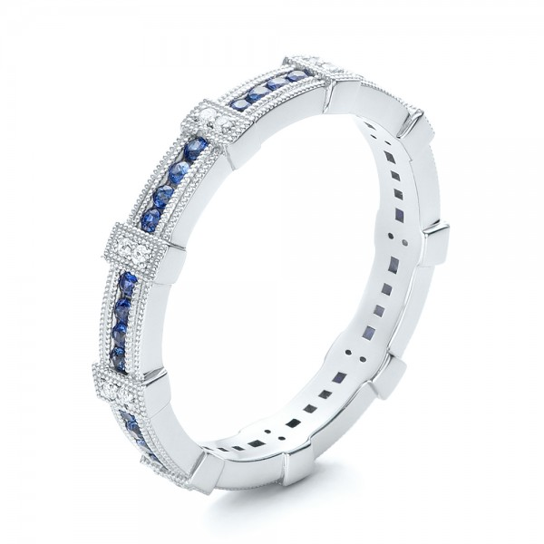 Blue Sapphire and Diamond Stackable Eternity Band