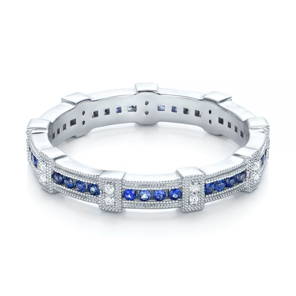 18k White Gold Blue Sapphire And Diamond Stackable Eternity Band - Flat View -