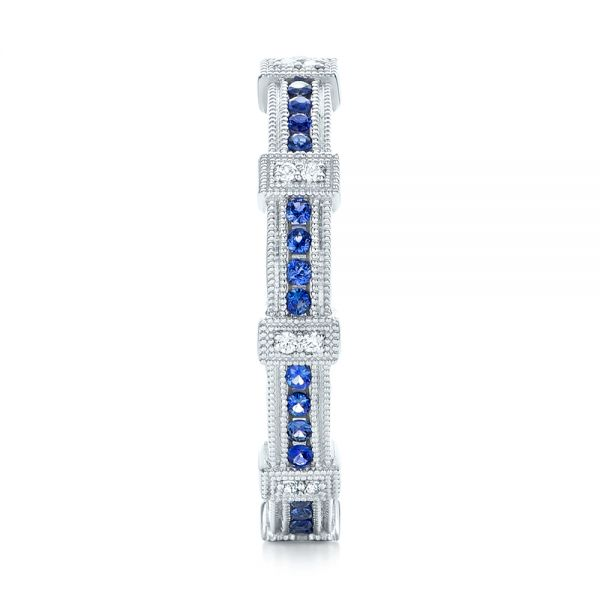 18k White Gold Blue Sapphire And Diamond Stackable Eternity Band - Side View -