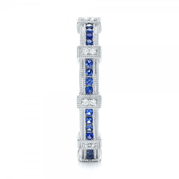 Blue Sapphire and Diamond Stackable Eternity Band - Side View