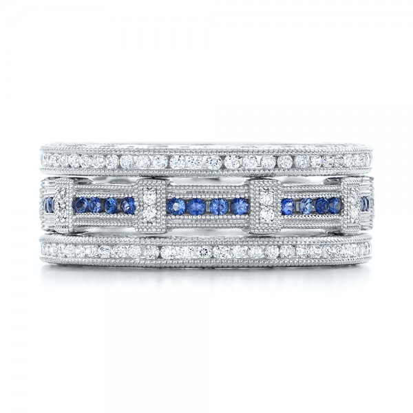 Blue Sapphire and Diamond Stackable Eternity Band - Top View