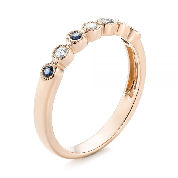 18k Rose Gold 18k Rose Gold Blue Sapphire And Diamond Stackable Ring - Three-Quarter View -