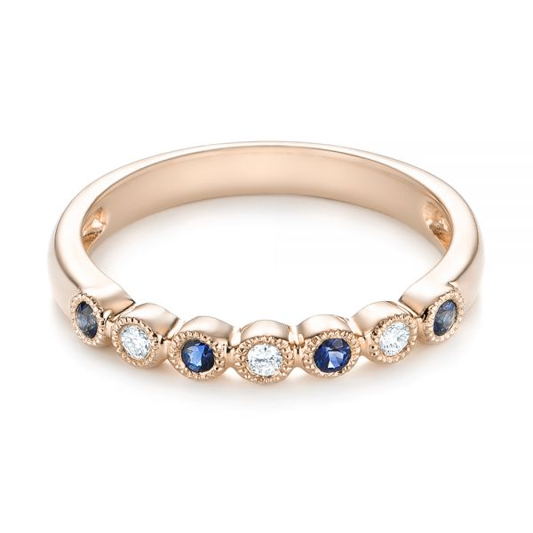18k Rose Gold 18k Rose Gold Blue Sapphire And Diamond Stackable Ring - Flat View -