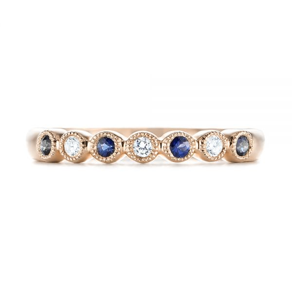 18k Rose Gold 18k Rose Gold Blue Sapphire And Diamond Stackable Ring - Top View -