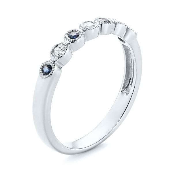 14k White Gold 14k White Gold Blue Sapphire And Diamond Stackable Ring - Three-Quarter View -