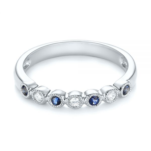 14k White Gold 14k White Gold Blue Sapphire And Diamond Stackable Ring - Flat View -