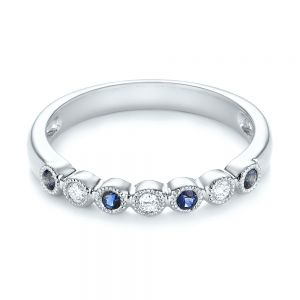 Blue Sapphire and Diamond Stackable Ring