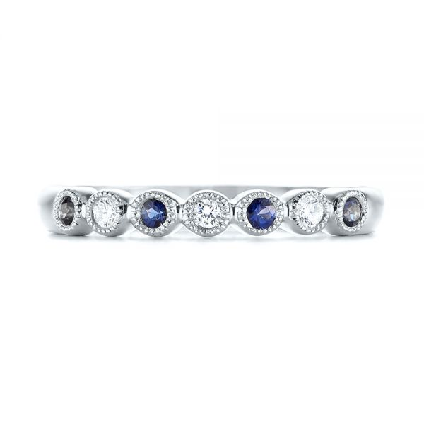 14k White Gold 14k White Gold Blue Sapphire And Diamond Stackable Ring - Top View -