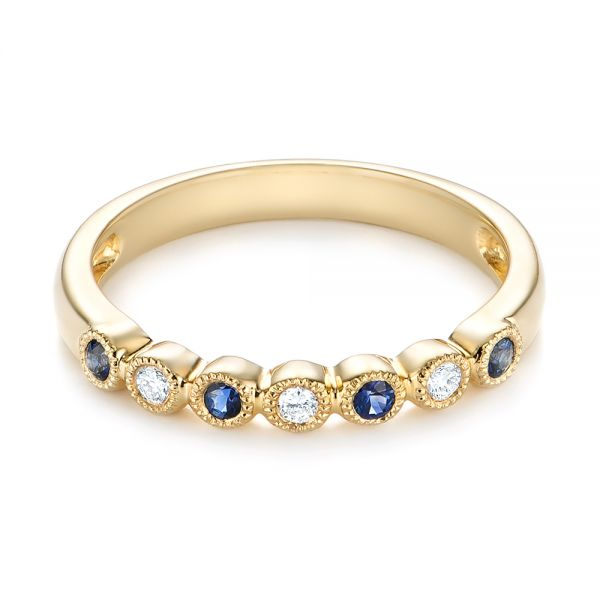 14k Yellow Gold Blue Sapphire And Diamond Stackable Ring - Flat View -  104575
