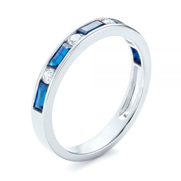 14k White Gold Blue Sapphire And Diamond Wedding Band - Three-Quarter View -