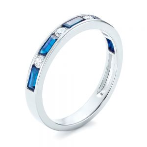 Blue Sapphire and Diamond Wedding Band - Image