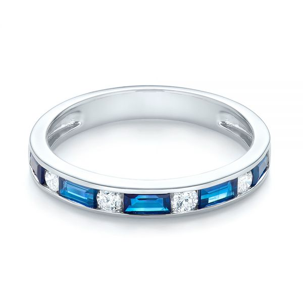 14k White Gold Blue Sapphire And Diamond Wedding Band - Flat View -