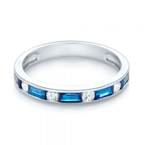 Blue Sapphire and Diamond Wedding Band