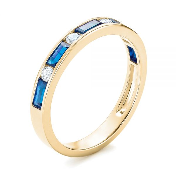 18k Yellow Gold 18k Yellow Gold Blue Sapphire And Diamond Wedding Band - Three-Quarter View -  103755