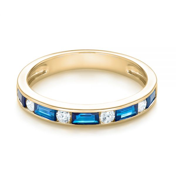 18k Yellow Gold 18k Yellow Gold Blue Sapphire And Diamond Wedding Band - Flat View -  103755