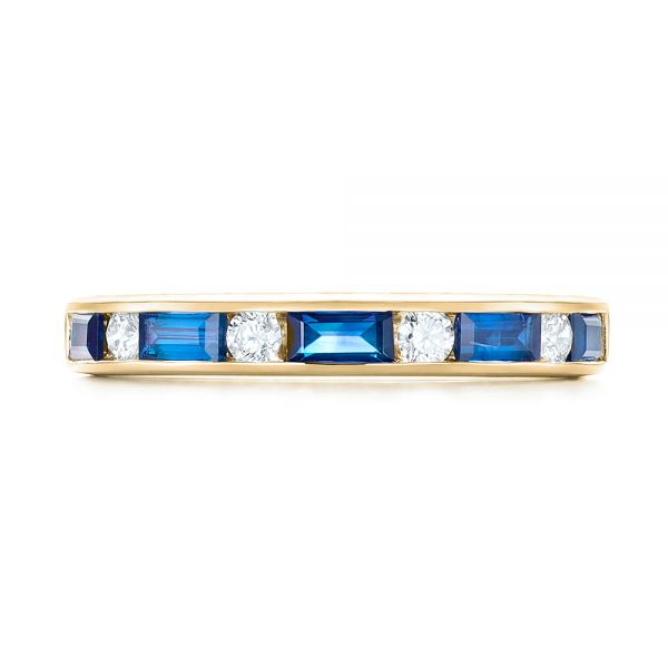 18k Yellow Gold 18k Yellow Gold Blue Sapphire And Diamond Wedding Band - Top View -  103755