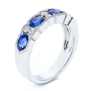 Blue Sapphire and Diamond Wedding Ring - Image