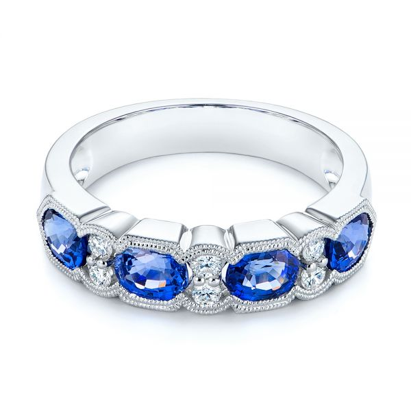 14k White Gold Blue Sapphire And Diamond Wedding Ring - Flat View -