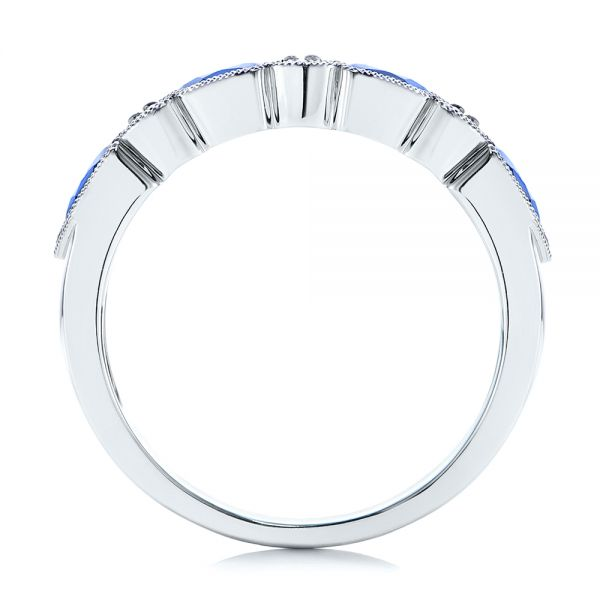 14k White Gold Blue Sapphire And Diamond Wedding Ring - Front View -