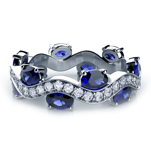 Blue Sapphire and Diamond Women s Anniversary Band 944