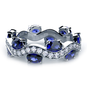 Blue Sapphire and Diamond Women's Anniversary Band
