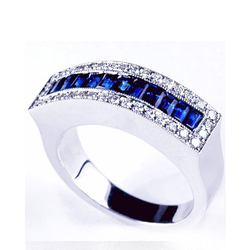 Blue Sapphire and Diamond Women's Wedding Band - 3/4 View