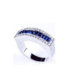 Blue Sapphire and Diamond Women's Wedding Band