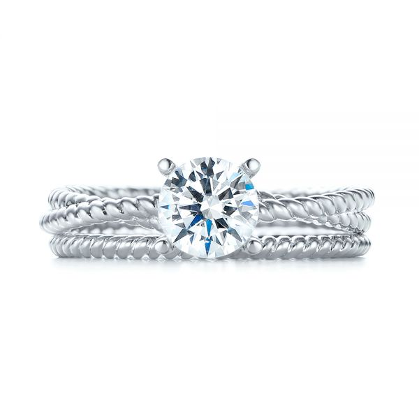 Braided Women's Wedding Band - Top View -  103673 - Thumbnail