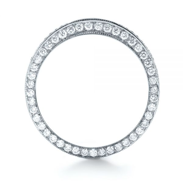 18k White Gold Bright Cut Diamond Eternity Band - Front View -