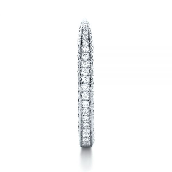 18k White Gold Bright Cut Diamond Eternity Band - Side View -