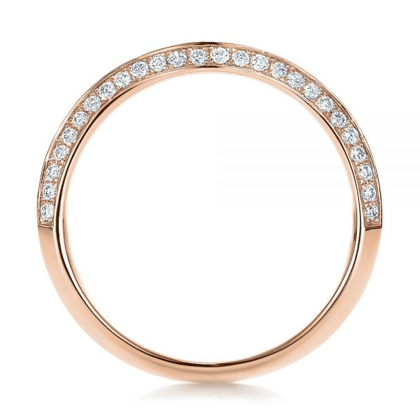 14k Rose Gold 14k Rose Gold Bright Cut Diamond Wedding Band - Front View -  100408