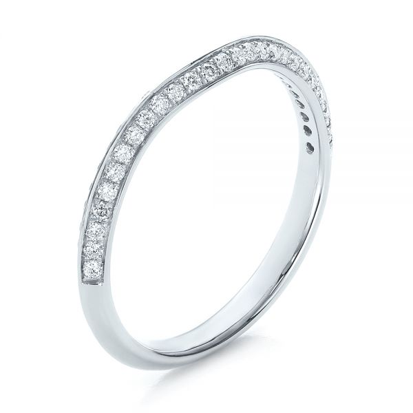 14k White Gold Bright Cut Diamond Wedding Band - Three-Quarter View -